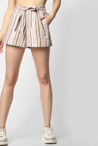 ONLY Striped Shorts with Tie-Up Detail