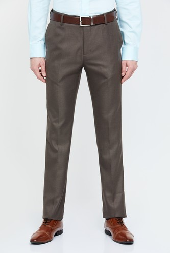 ARROW Textured Slim Fit Formal Trousers