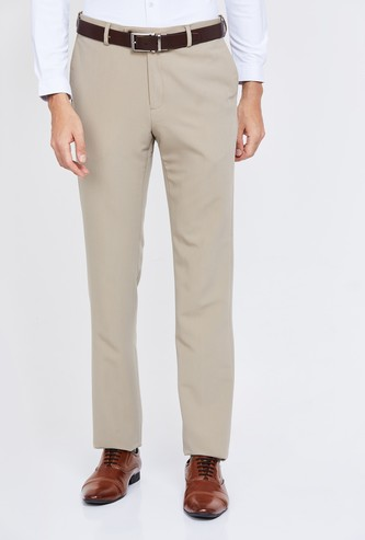 ARROW Solid Slim Tapered Trousers