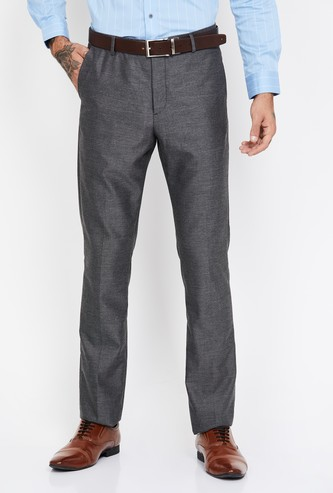ARROW NEW YORK Textured Slim Tapered Formal Trousers