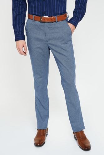 ARROW NEW YORK Textured Super Slim Formal Trousers