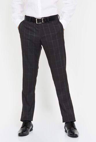 BLACKBERRYS Checked Slim Fit Formal Trousers