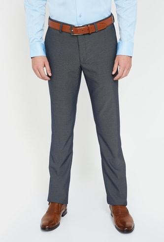 BLACKBERRYS Textured Slim Tapered Formal Trousers