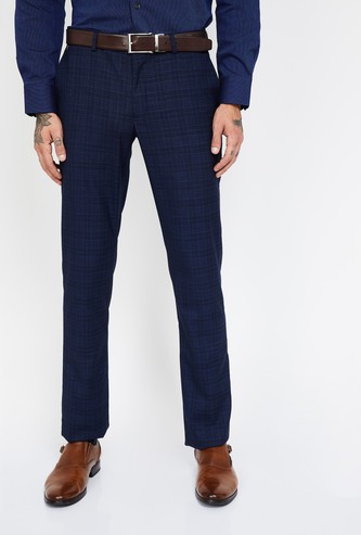 BLACKBERRYS Checked Slim Tapered Formal Trousers