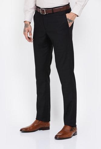 BLACKBERRYS Striped Slim Fit Flat-Front Trousers