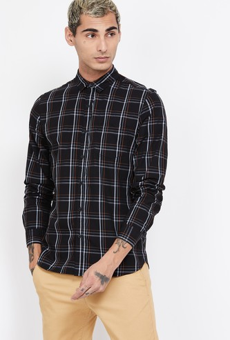 FAME FOREVER Checked Full Sleeves Slim Fit Casual Shirt