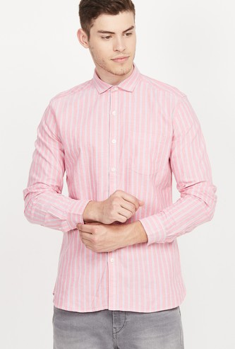 FAME FOREVER Striped Full Sleeves Slim Fit Casual Shirt