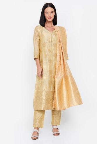 IMARA Patterned Straight Kurta with Straight Pants and Dupatta