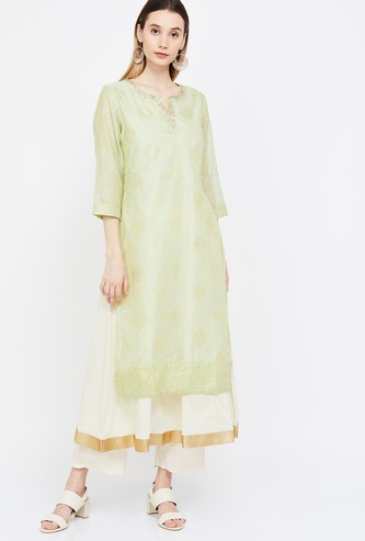 MELANGE Embroidered Three-quarter Sleeves Layered Kurta