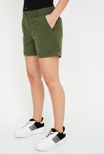 FAME FOREVER Solid Woven Shorts