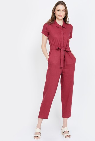 AND Solid Cropped Jumpsuit with Sash Tie-Up