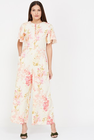 AND Floral Print Jumpsuit with Flutter Sleeves