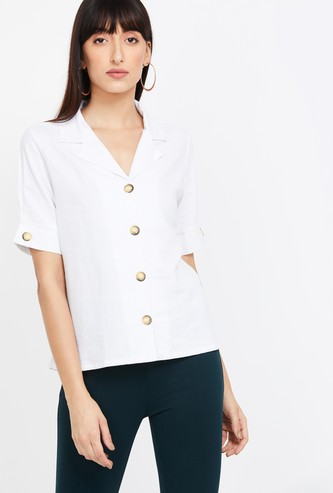 AND Solid Lapel Collared Half-Sleeves Shirt