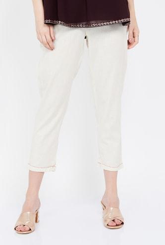 MELANGE Solid Cropped Pants