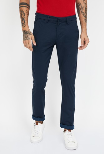ALLEN SOLLY Solid Super Slim Chinos