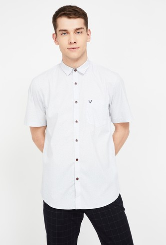 ALLEN SOLLY Checked Short Sleeves Slim Fit Shirt