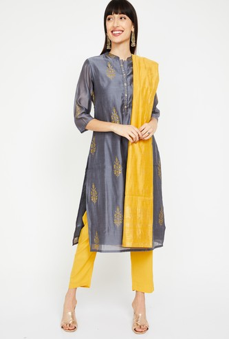 SHREE Printed Straight Kurta with Straight Pants and Dupatta