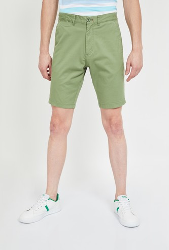 T-BASE Solid Regular Fit Casual Shorts