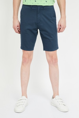T-BASE Solid Slim Fit City Shorts
