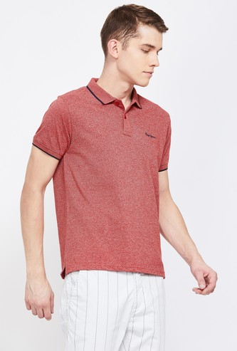 PEPE JEANS Textured Regular Fit Polo T-shirt