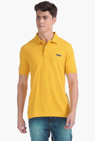 FLYING MACHINE Solid Slim Fit Polo T-shirt