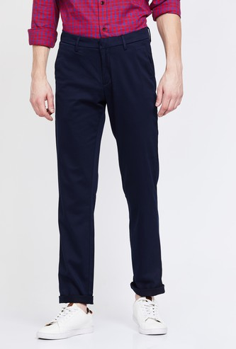 ALLEN SOLLY Solid Slim Straight Fit Trousers