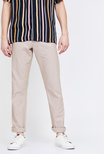 ALLEN SOLLY Textured Slim Straight Fit Trousers