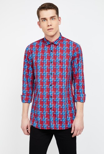 ALLEN SOLLY Checked Super Slim Casual Shirt