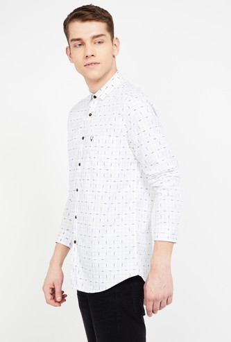 ALLEN SOLLY Printed Super Slim Fit Casual Shirt