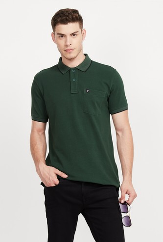 VH SPORTS Solid Regular Fit Polo T-shirt with Patch Pocket
