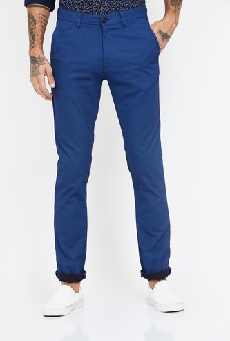 V DOT Textured Slim Straight Chinos