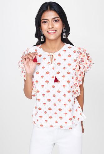 GLOBAL DESI Floral Print Top with Flutter Sleeves