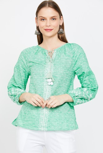 GLOBAL DESI Printed Tire-Up Neck Top