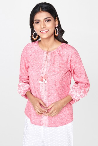 GLOBAL DESI Floral Embroidery Dobby Top with Tasselled Tie-Up