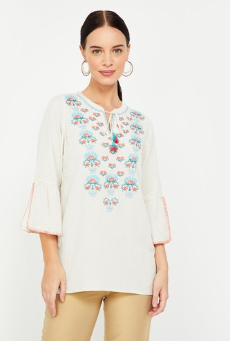 GLOBAL DESI Embroidered Top with Slit Bell Sleeves
