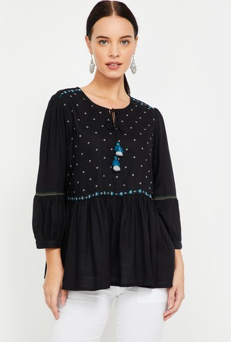 GLOBAL DESI Embroidered Top with Tasselled Tie-Up