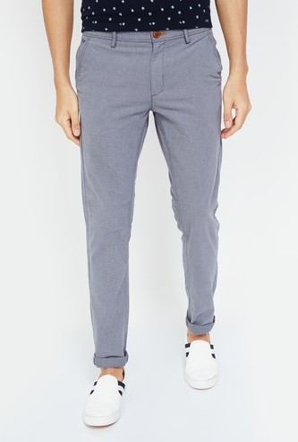 INDIAN TERRAIN Textured Slim Fit Trousers