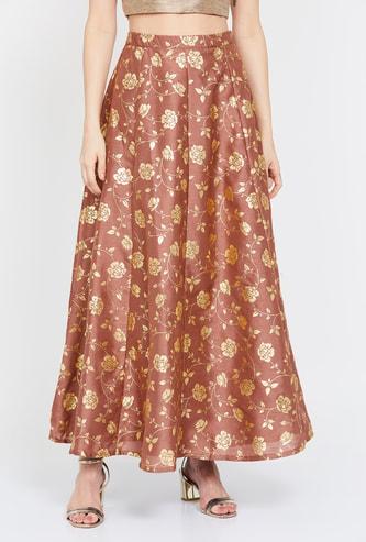 INDYA Floral Print Elasticated Skirt