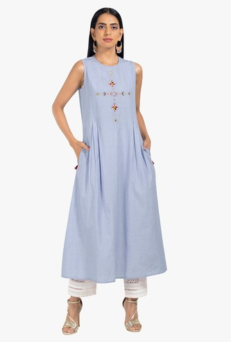 INDYA Embroidered A-line Tunic