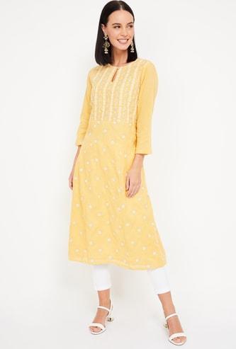 INDYA Women Embroidered A-line Kurta
