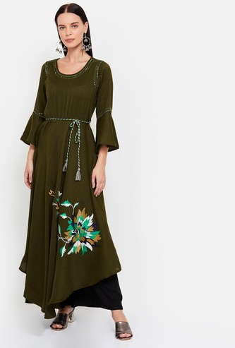 NEERUS Solid Tunic with Floral Embroidery