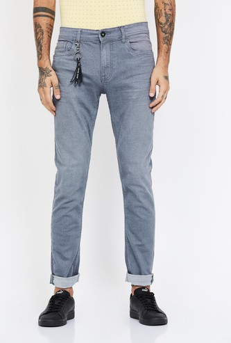 BOSSINI Stonewashed Slim Tapered Jeans with Tassel Trim