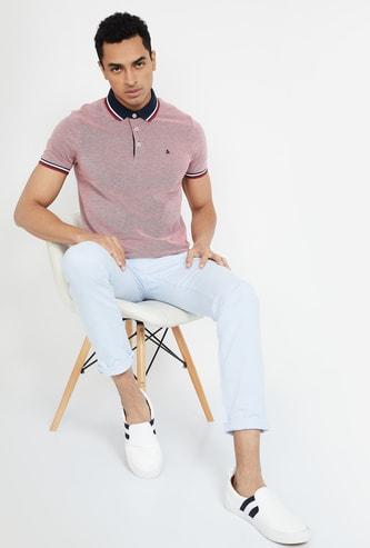 JACK & JONES Textured Slim Fit Polo T-shirt