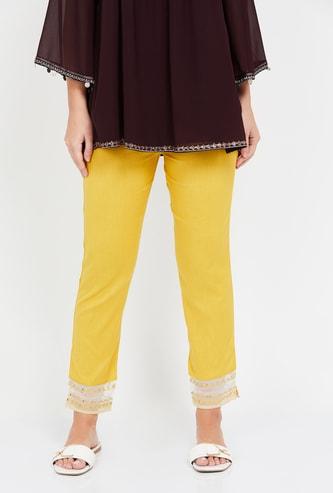 W Lace Hemmed Ethnic Pants