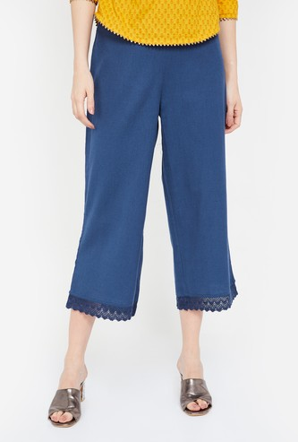 MELANGE Solid Culottes with Lace Trim