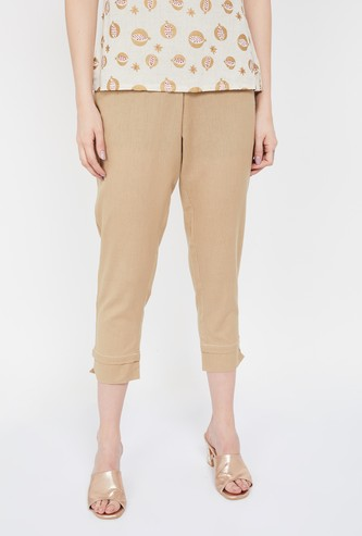 MELANGE Solid Elasticated Cropped Straight Pants