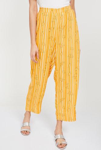 GLOBAL DESI Floral Print Striped Cropped Pants