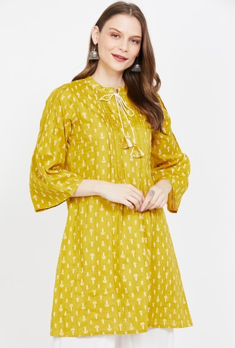 GLOBAL DESI Printed Tunic with Tasselled Tie-Up