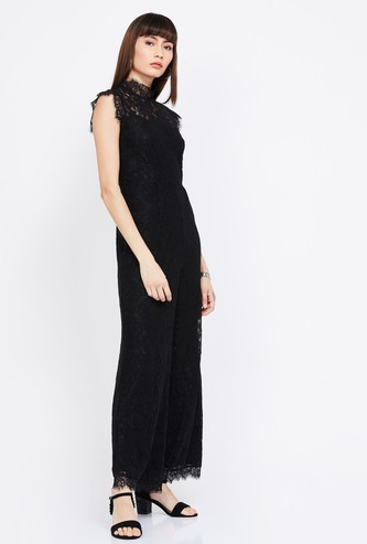VERO MODA Floral Lace Sleeveless Jumpsuit
