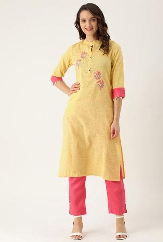 RAISIN Women Embroidered Three-quarter Sleeves Kurta with Salwar